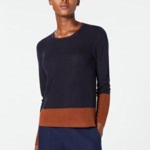 Eileen Fisher Colorblock Lyocell & Silk Sweater